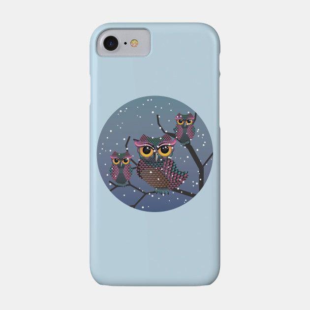 Owls on a Branch - Owl - Phone Case | TeePublic