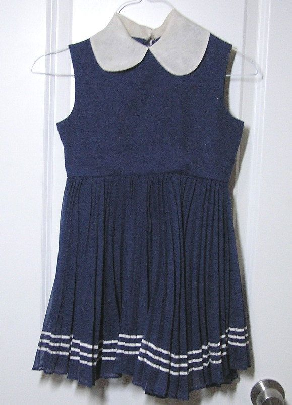 Vintage 1960s Dorissa of Miami Girls Navy, Sleeveless Summer Dress with White Trim, Size 7, Pleated Skirt with 3 Rows White Braid at Hem by VictorianWardrobe on Etsy