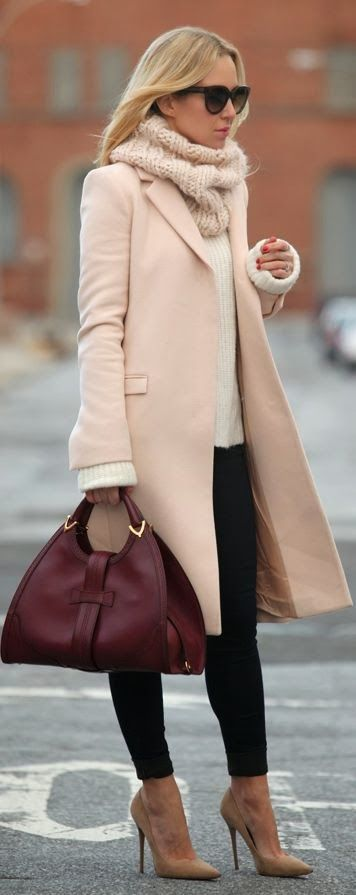 Style fashion clothing outfit women pink coat scarf heels brown burgundy handbag sweater white winter sunglasses