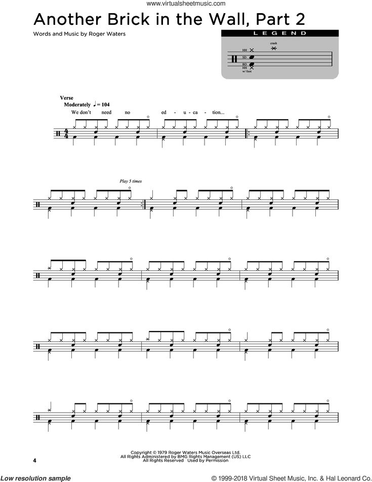 Floyd Another Brick In The Wall Part 2 Sheet Music For Drums