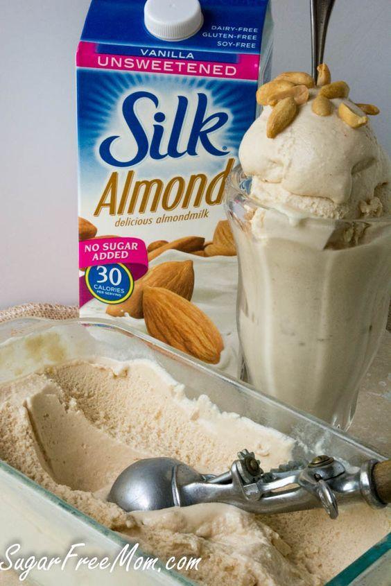 Sugar Free Peanut Butter Cheesecake Ice Cream / sugarfreemom.com/ #ad #inspired @lovemysilk