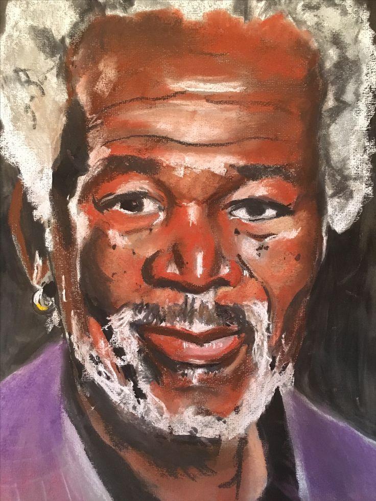 A pastel portrait I did of Morgan Freeman.