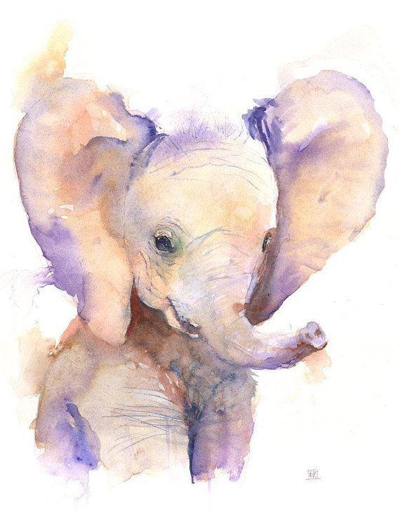 Elephant Watercolor Print Canvas Elephant Nursery Elephant