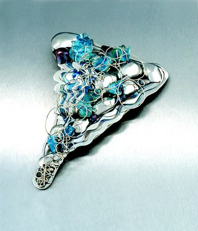 Absalom Khumalo - platinum and aquamarine brooch