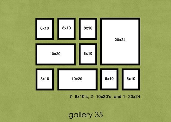 28 best picture frame layout ideas images on pinterest for Arrangement of photo frames on wall