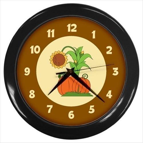 Sunflower and pumpkins Autumn wall clock