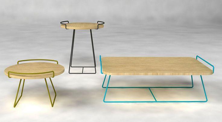 Table basse / contemporaine / en métal / en bois - by Fred Rieffel - ENO STUDIO