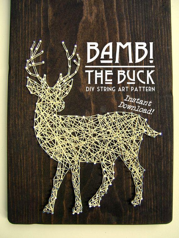 String Art Pattern Bambi The Buck 10 x 8 by NineRed