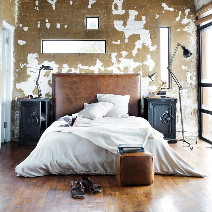 T te de lit 140 cuir vieilli marron andrew d co maison - Tete de lit cuir vieilli ...