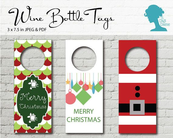 Wine Bottle Tags Printable: Set of Three Christmas by digidame