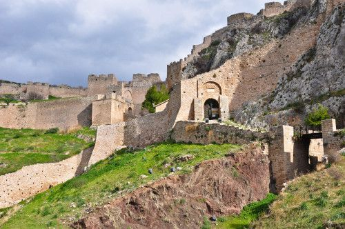 """The """"Acrocorinth"""" is the acropolis (citadel) of Corinth.  It is situated to the southwest of the ancient city and rises to an elevation of 1883 ft.  Today it is surrounded by walls that are about 1.8 mi. long."""