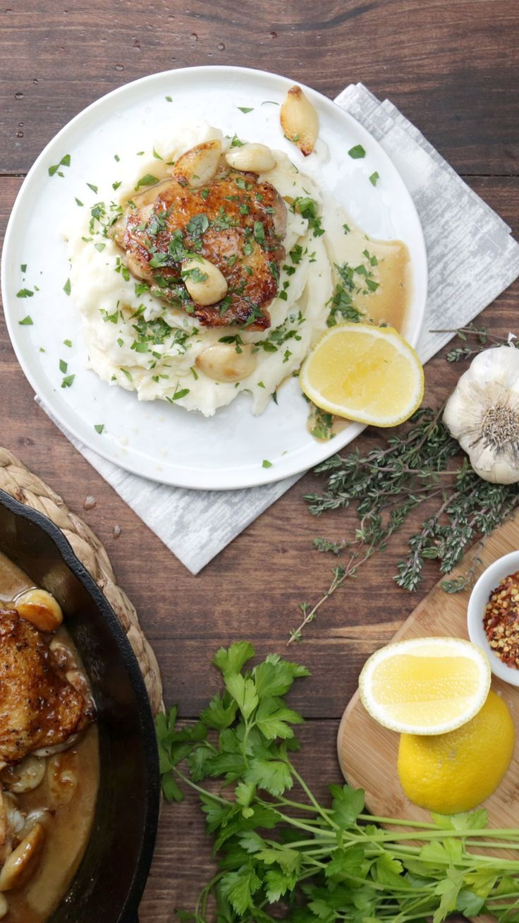 Take chicken thighs to the next level with thyme and lots of garlicky goodness. One pan less cleanup