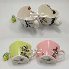 Porcelain heart shaped ceramic coffee cups Moomin Rousseaulove cartoon Humic mug beautiful lovely gift 1pc free shipping(China (Mainland))