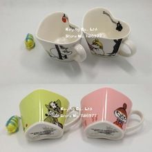 Porcelain heart shaped ceramic coffee cups Moomin Rousseaulove cartoon Humic mug beautiful lovely gift 1pc free shipping(China (Mainland))