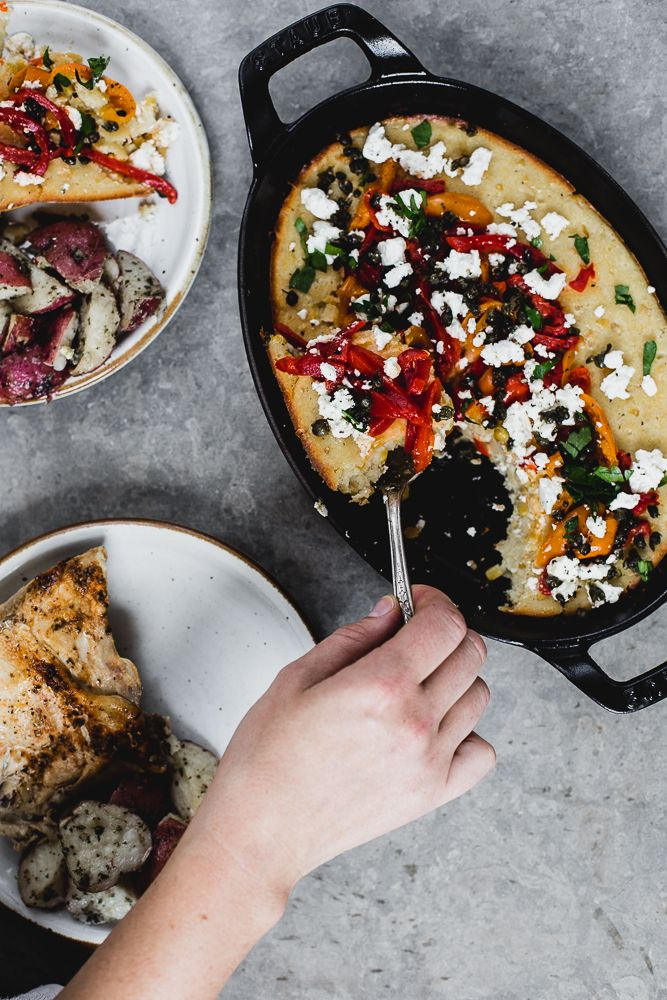 Spoon Bread with Feta, Roasted Red Peppers and Fried Capers | The ...