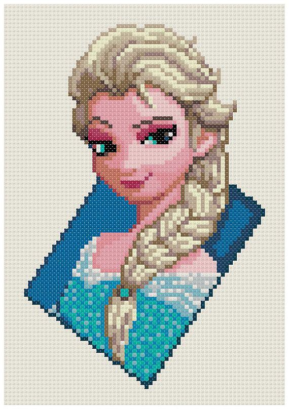 PDF Cross Stitch pattern 0300.Elsa Frozen INSTANT por PIXcross