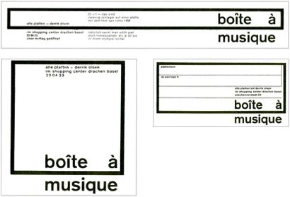 Known as the first flexible idenity Karl Gerstner's identity for Boîte à musique, a record shop in Basel, in 1959.More info here