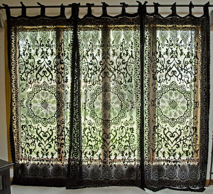 Medallion Burnout Velvet Sheer Curtain Drapery Panel Black House Pinterest