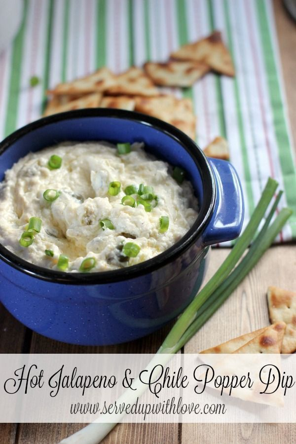 Hot Jalapeno & Chile Popper Dip recipe from Served Up With Love. Ooey, gooey, and full of flavor, this is my new go to dip for any party. http://www.servedupwithlove.com