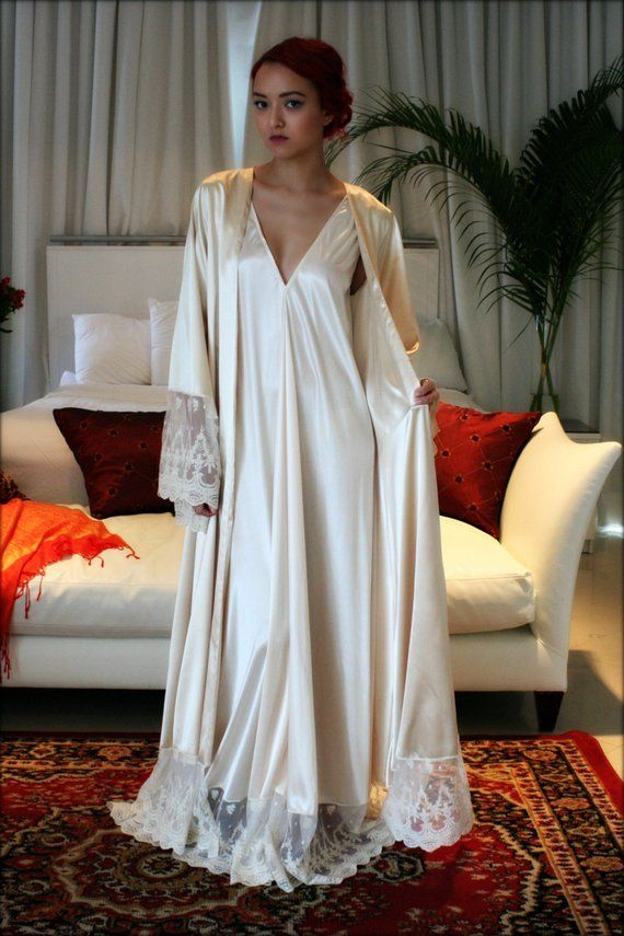 4391f8d4b0a Fiona Champagne Satin Bridal Wedding Robe Bridal Lingerie Wedding ...