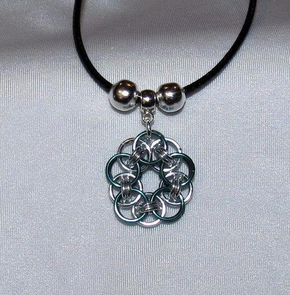 Chainmaille Flower pendant Necklace by PawInspiredCreations