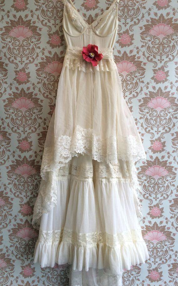 ivory chiffon & lace tiered boho wedding by mermaidmisskristin