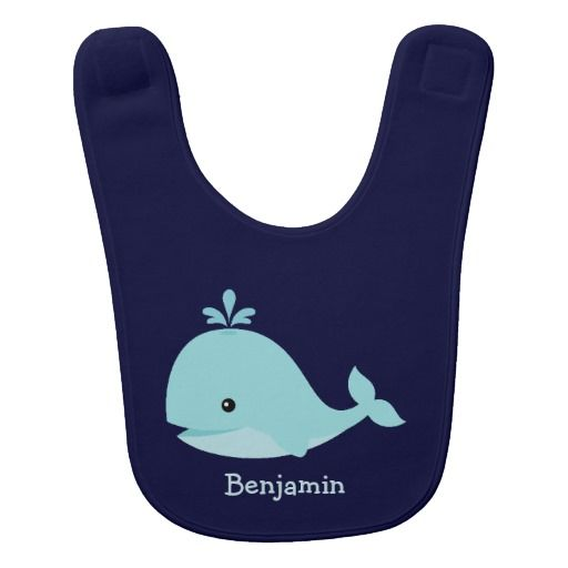 Personalized Baby Bib Cute Light Blue Whale Bib