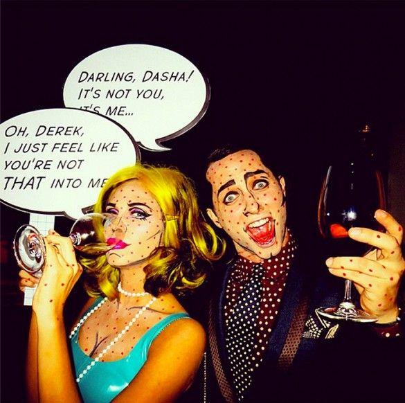 Derek Blasberg dressed up as Lichtenstein pop art for Halloween.