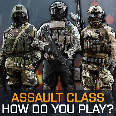 Run and gun - Medium-range fire - Healing and reviving your team... How do YOU play the Assault class? LIKE if you play assault. Join us on the battlefield today: http://www.battlefield.com/battlefield-4/buy?utm_campaign=bf-social-us-socom-fb-11252013assault&utm_source=facebook&utm_medium=social&sourceid=bf-social-us-socom-fb-11252013assault&cid=18860
