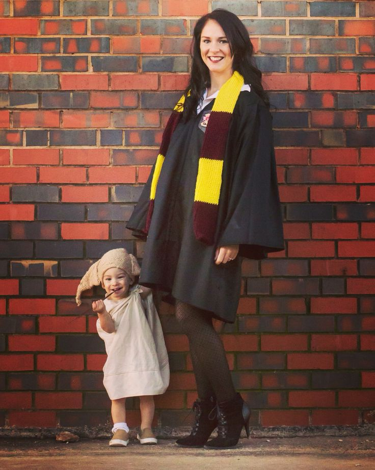 Harry Potter and Dobby costume! DIY Hermione Granger and Dobby the House Elf Halloween Costumes for baby boy and mom.