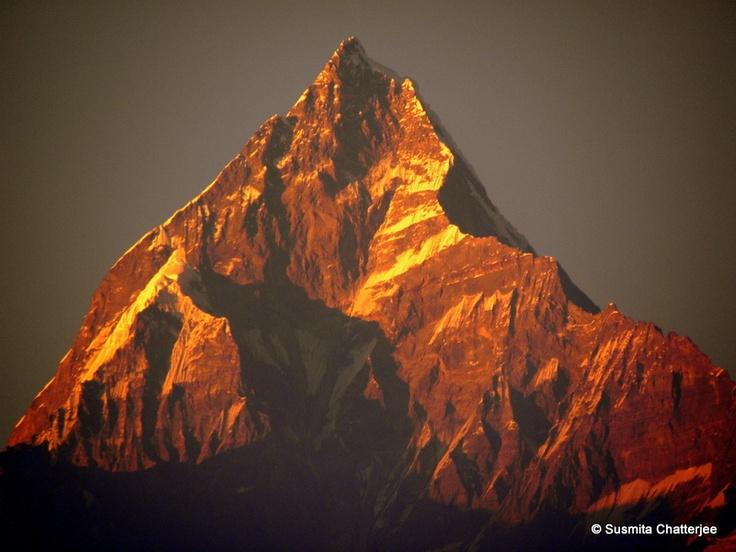 Evening view of Nepal Himalayan peak 'Fish Tail' from Pokhara, Nepal