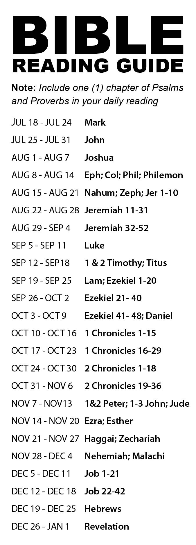daily bible reading plan we will use in the 2014 bible reading