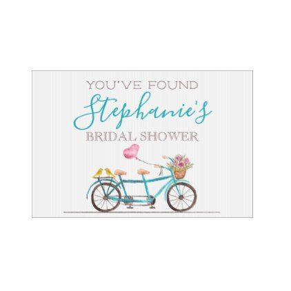 Watercolor Tandem Bicycle Bridal Shower Yard Sign - flowers floral flower design unique style