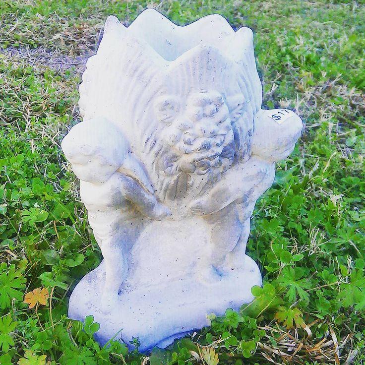 17 mini cherub angel planter or vase concrete garden for Landscaping rocks tallahassee fl