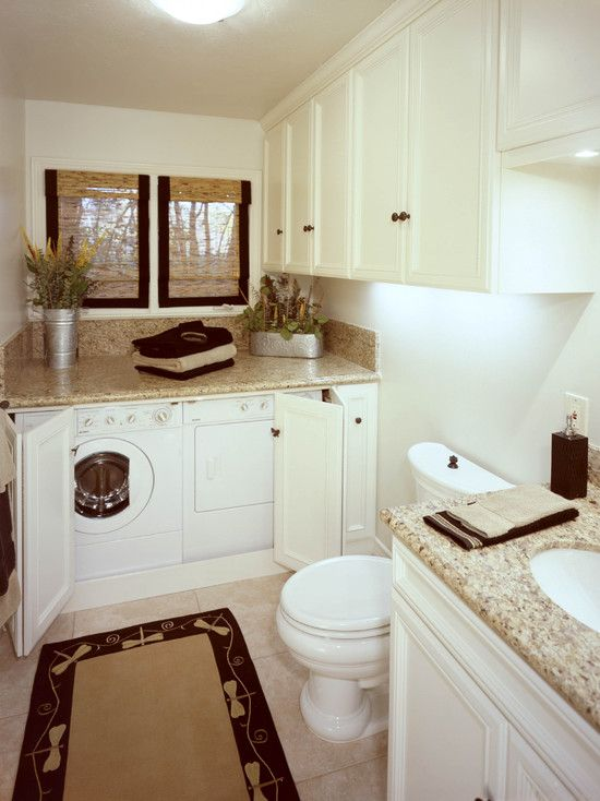 Love the use of space with the counter on top of the washer and dryer but they can still be hidden