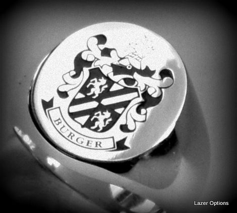 Family Crest on Sterling Silver Ring, with black resin inlay.