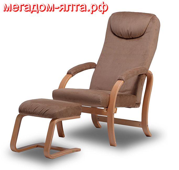 Торгово-выставочный склад-магазин»Мегадом»Ялта предлагает Вам идеальное для отдыха кресло «Комфорт».  Гнутые кресла «Комфорт» — это результат работы профессиональных мастеров, вдохновленных идеей создания идеального кресла для отдыха дома. В кресле можно легко перемещать подвижную рамку в различные положения наклона спинки, и даже полулежать в кресле. Для этого под ноги предлагается пуфик-банкетка. Расслабление мышц спины и отдых позвоночника обеспечивает удобный изгиб спинки кресла.