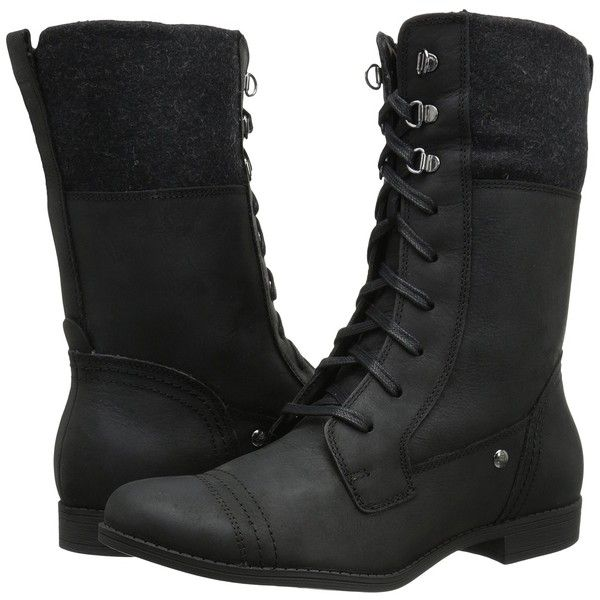 Hush Puppies Fidda Maisie (Black WP Leather) Women's Lace-up Boots (380 CNY) ❤ liked on Polyvore featuring shoes, boots, black, waterproof military boots, black military boots, waterproof leather boots, leather military boots and lace up boots