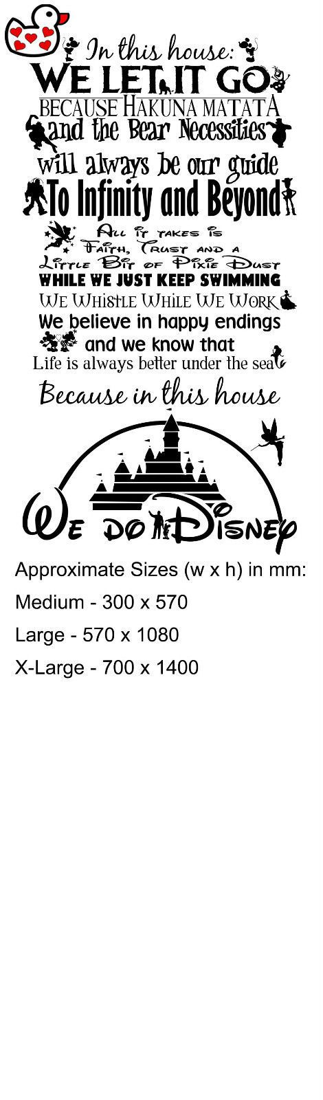 We Do Disney Style Quote In This House Rules Vinyl Wall Art Sticker Mural UK in Home, Furniture & DIY, Home Decor, Wall Decals & Stickers | eBay