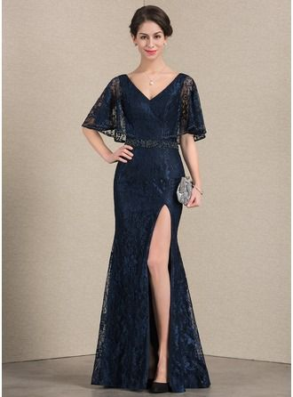7e48db0022e Trumpet Mermaid V-neck Floor-Length Beading Sequins Split Front Zipper Up Sleeves  1 2 Sleeves No Dark Navy General Plus Lace Height 5.7ft Bust 33in ...