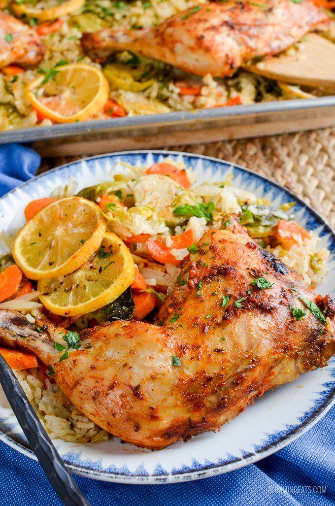 Slimming Eats - Slimming World Recipes Syn Free Lemon Garlic Chicken Rice Traybake | Slimming World Recipes