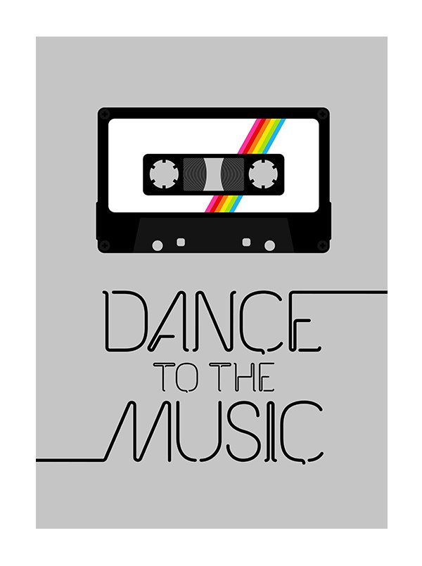 Retro poster print typography 70s 80s music cassette tape - Dance To The Music 2 - 50 x 70 cm large poster. $55.00, via Etsy.