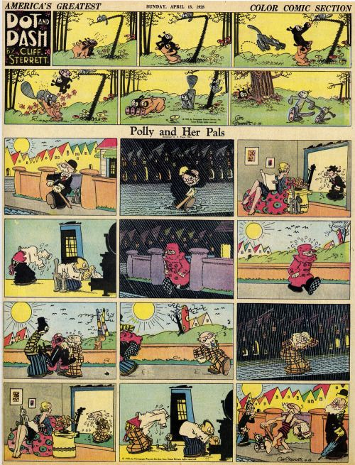 thebristolboard:ClassicPolly and Her PalsSunday strip by Cliff...  thebristolboard:  ClassicPolly and Her PalsSunday strip by Cliff Sterrett April 15 1928. FromAmericas Greatest Comic-Strip Artistsby Rick Marschall. Published by Abbeville Press 1989.