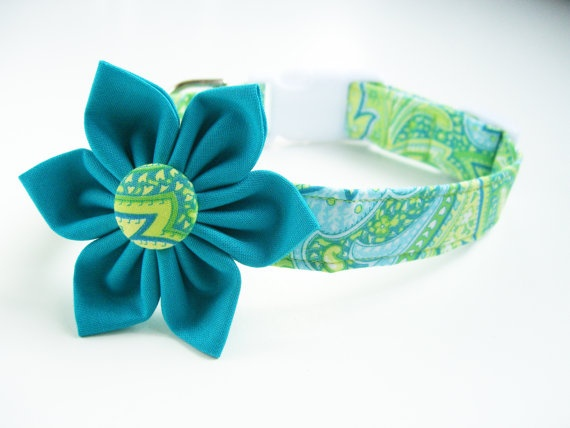 Dog Collar Flower Set: Lime Green, Turquoise, and Yellow Paisley Fabric Dog Collar with Flower