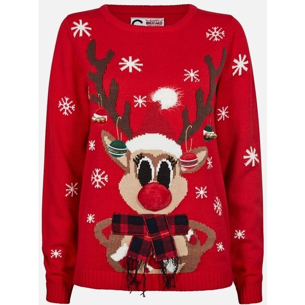 FUNNY CHRISTMAS SWEATER ❤ liked on Polyvore featuring tops, sweaters, christmas, jumper, red christmas sweater, xmas jumpers, xmas sweaters, christmas sweaters and red christmas jumper