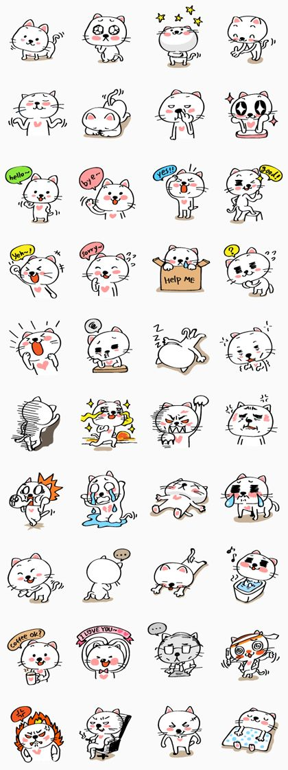 Mochi the cat's full-of-energy personality is displayed in these stickers. You…