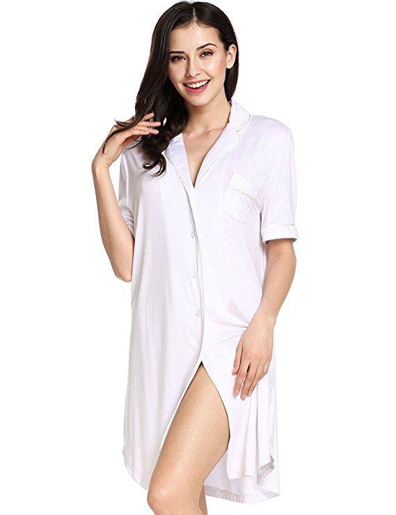 Sweetnight Women Short Sleeve Nightgown Button Front Boyfriend Sleep Shirt Pajamas  Lounge Sleepwear  3e2610093
