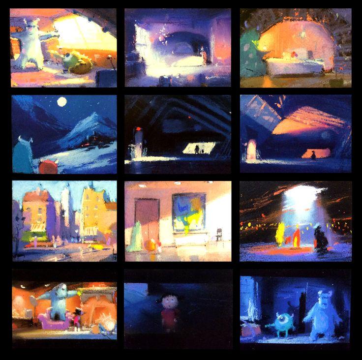 "color script for monsters inc, by Dominique Louis the god of pastels, 2000, pastels, 3 x 2"""