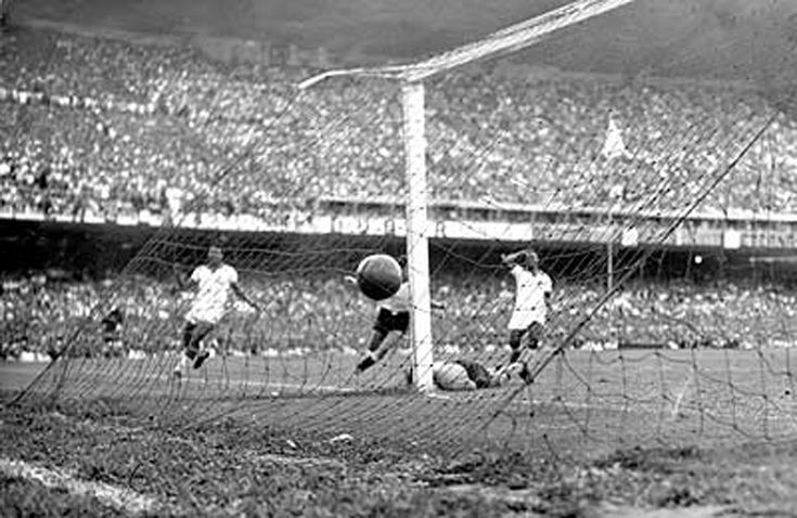Alcides Ghiggia scoring the winning goal at the 1950 World Cup in Brazil