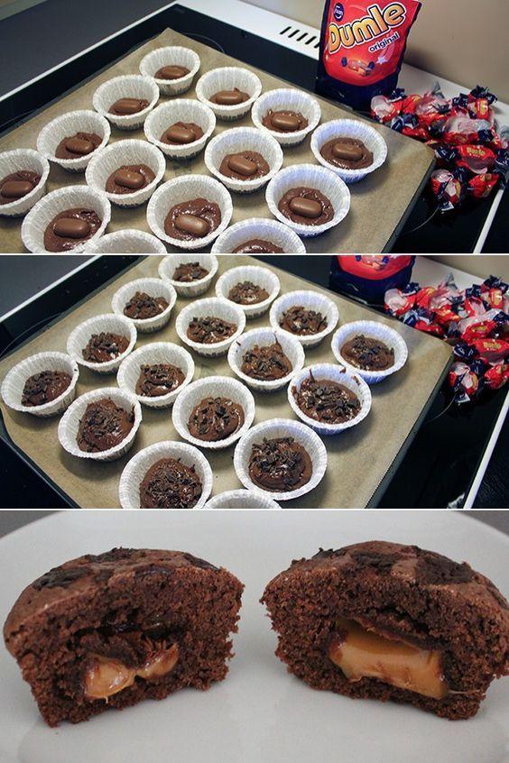 Fantastiske chokolademuffins med en lækker midte af flydende karamel. En overraskelse af de gode!: